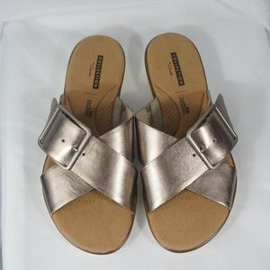 Clarks Kele Heather Pewter Leather Sandals Size 6